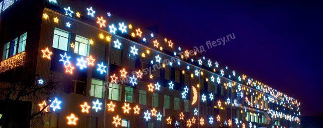 Украшение фасада тц к новому году